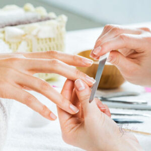 Loosen up the pinnacle layer with a coarse nail file