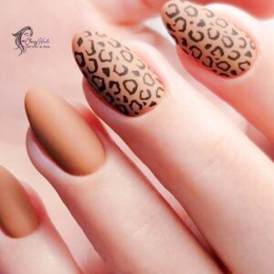 Amber Leopard Nails