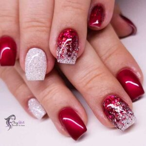 Christmas nails with Colorful Glitters