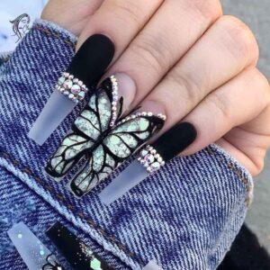 Classy Butterfly Long Nails Art
