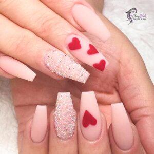 Classy Coffin Love Heart Nails