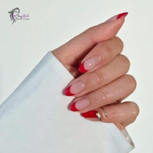 Classy Long Red French Almond Nails