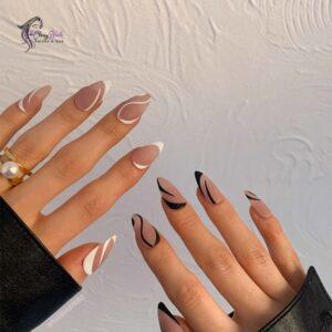 Classy Mismatched Long Almond Nails