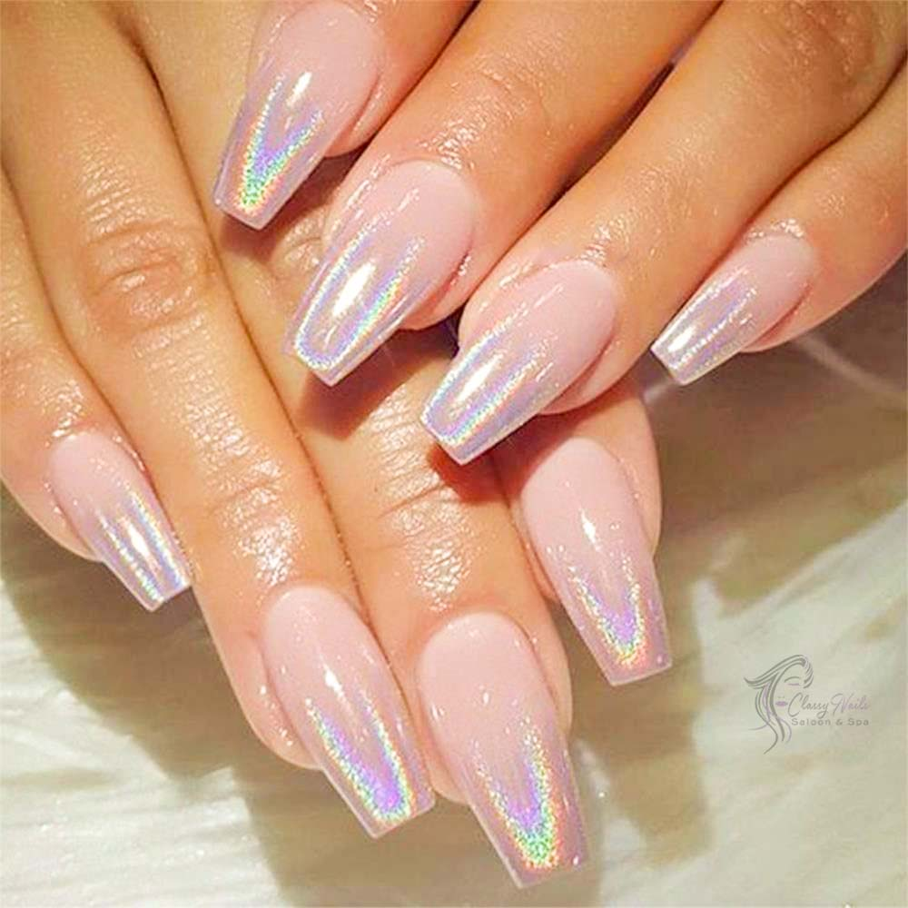 Double Color Holographic Nails