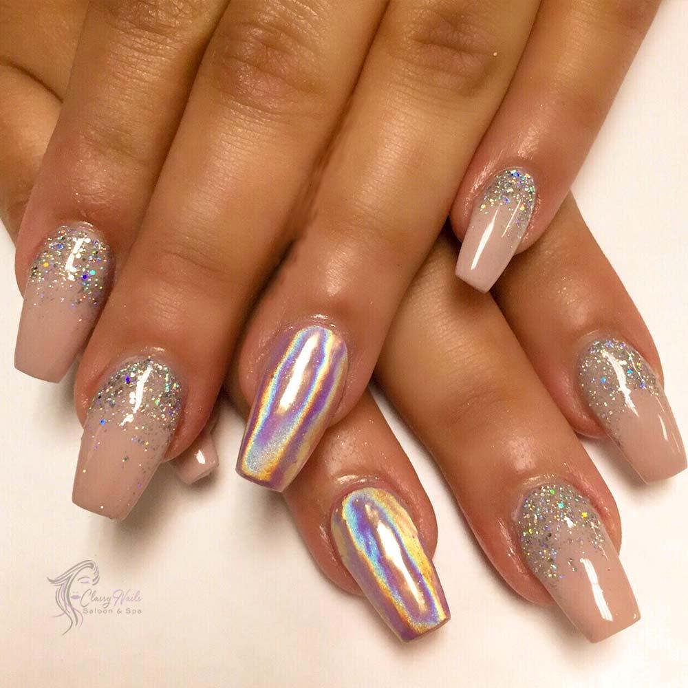 Glitter Chrome Nails