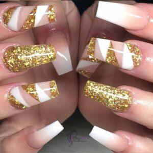 Gold Glitter Winter Nails