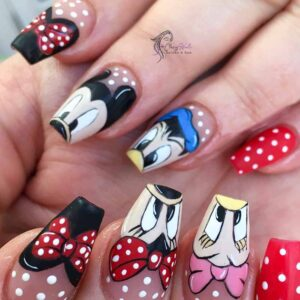 Long Nails with Mickey Mouse Art