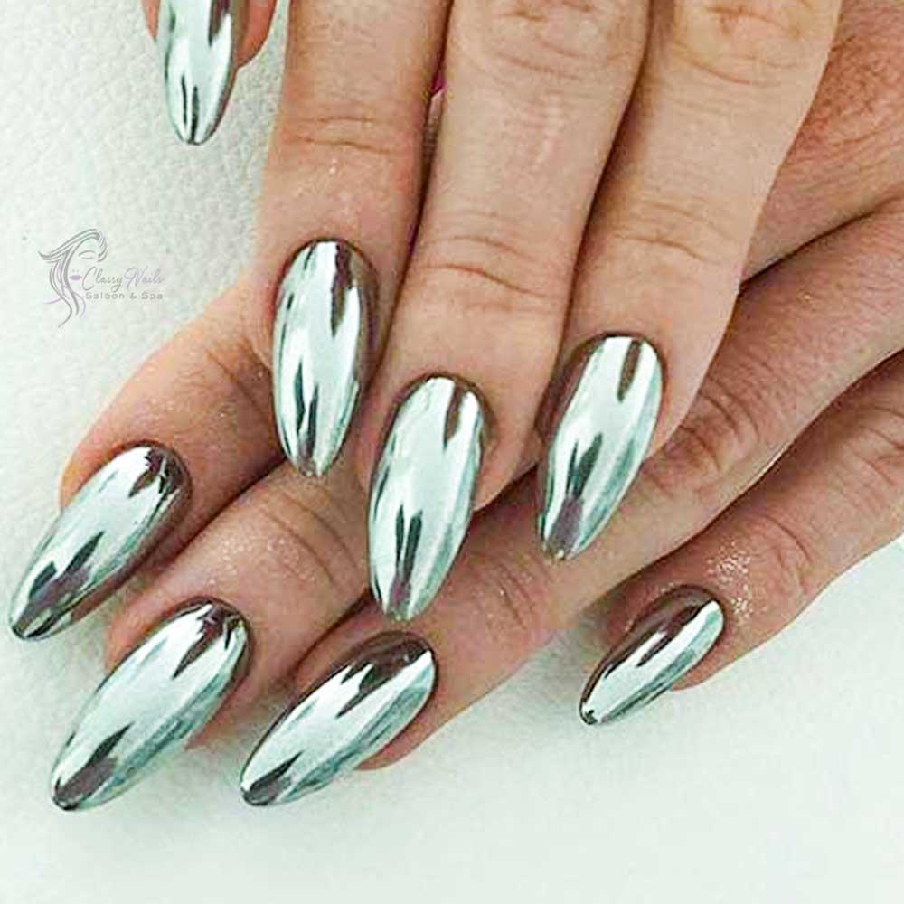Metallic Silver Luster Nails