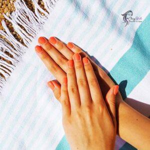 Orange shade summer classy nails