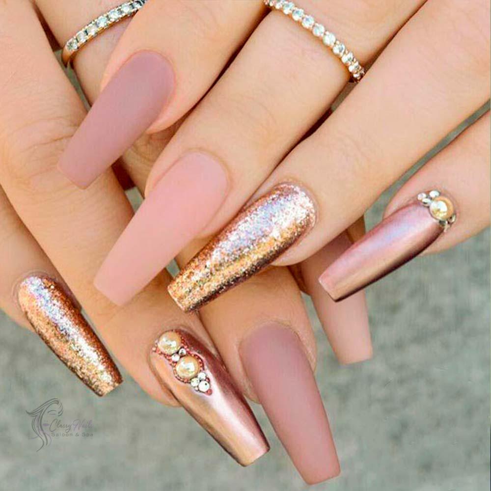 Rose Gold Metallic and White Matte Nails