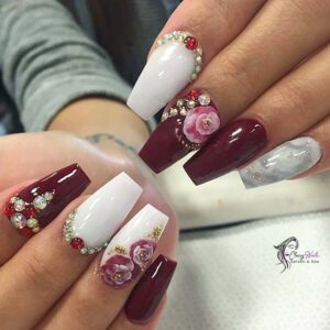 Rose Nails In 3D Style
