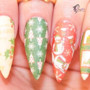 Wrapping Paper Christmas Nail Ideas
