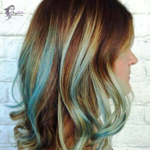Brown hair with blue highlights