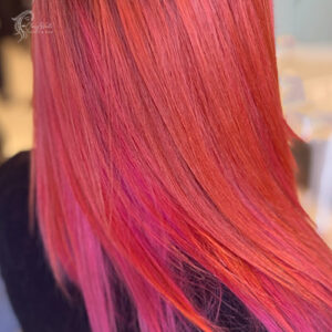 Copper with pink highlights.