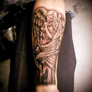 angel arm tattoo