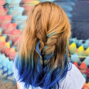 blue and brown combo hair