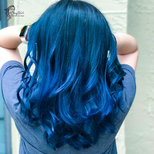 classy blue highlights hair