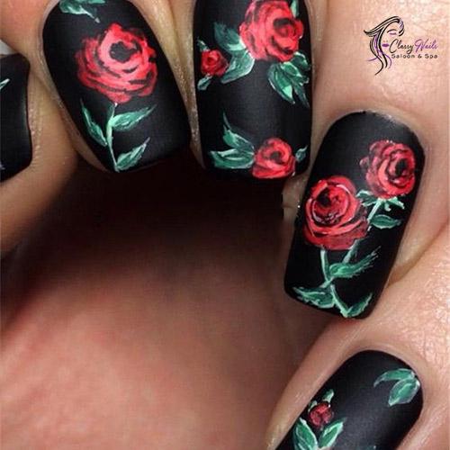 florals on black
