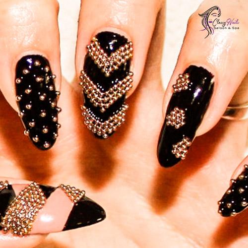 gold beaded nail designs