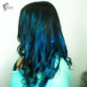 midnight blue highlights hair