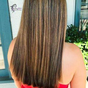 sleek and straight brown hair